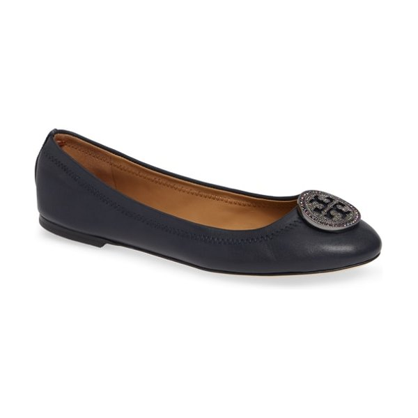 Tory Burch liana ballet flat in perfect navy/ gunmetal - A crystal-embellished double-T logo medallion tops the...