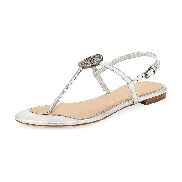 Tory Burch Liana Metallic Leather Flat Sandal in silver - Tory Burch metallic leather sandal. Flat stacked heel....