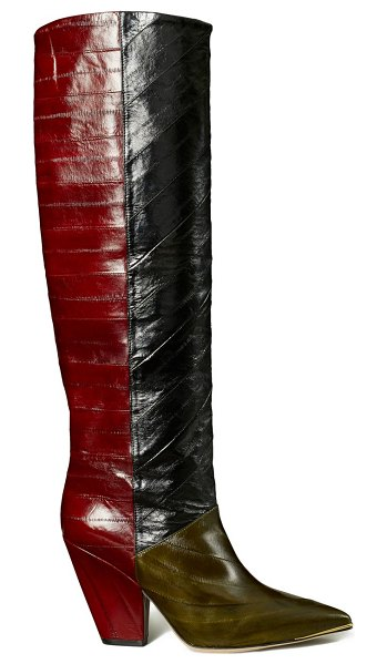 Tory Burch lila two-tone eel leather knee-high boots in neutral