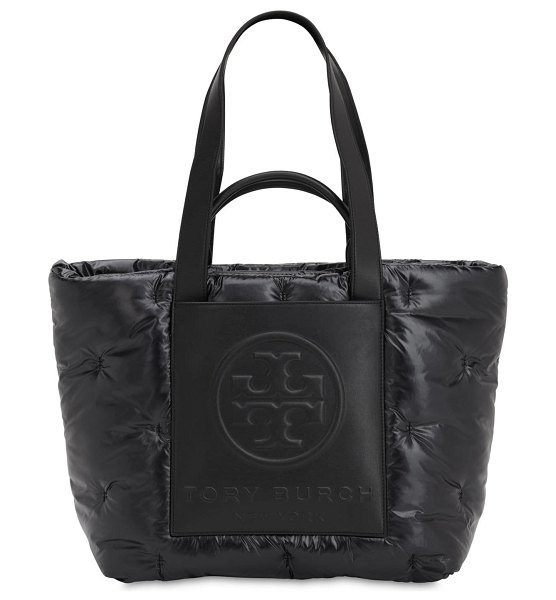 Tory Burch Logo padded nylon & leather tote bag in black