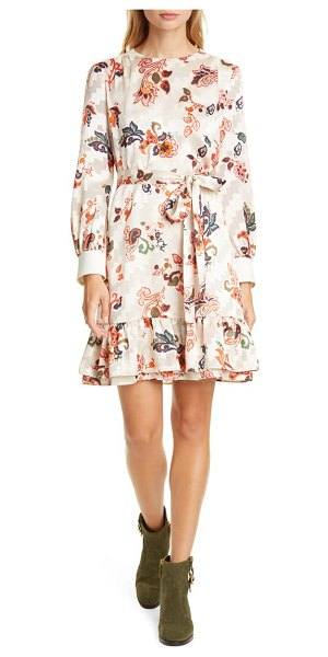 Tory Burch long sleeve burnout shift dress in ivory mountain paisley