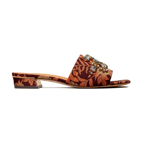 Tory Burch martine embellished floral mules in neutral