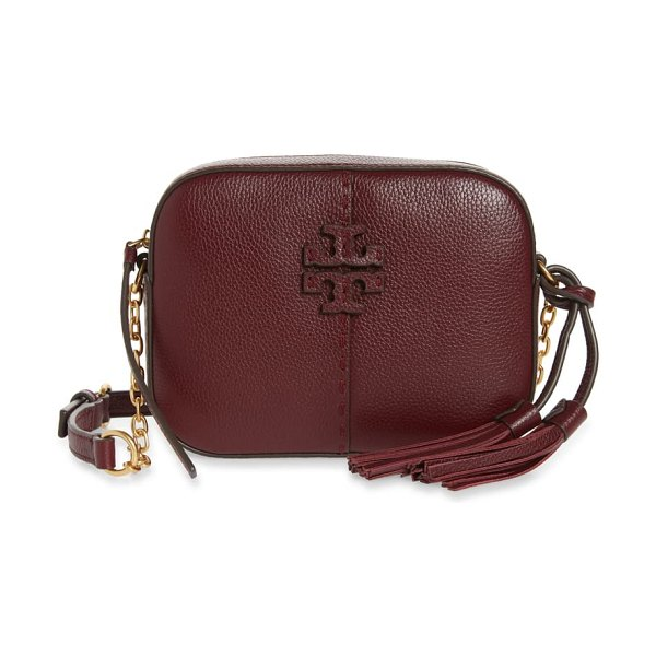 Tory Burch mcgraw leather camera bag in claret