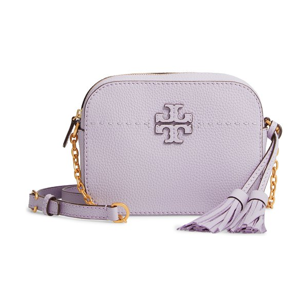 Tory Burch mcgraw leather camera bag in purple - Logo appliques add subtle signature style to a...