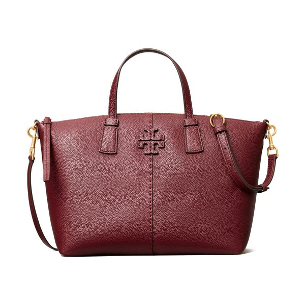 Tory Burch mcgraw leather satchel in claret