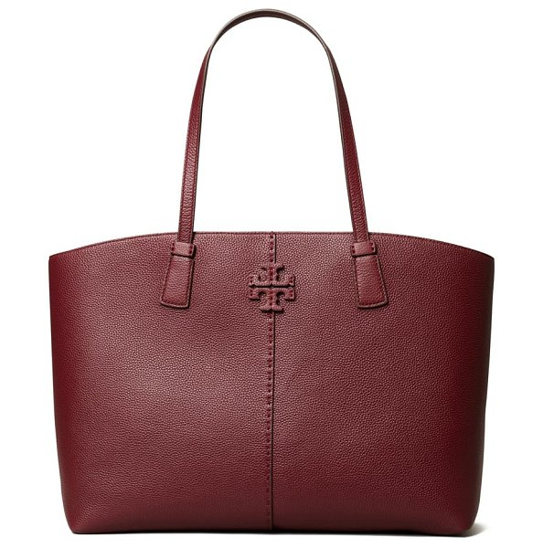 Tory Burch mcgraw leather tote in claret