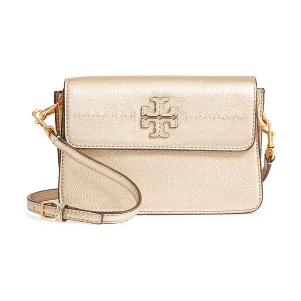 Tory Burch mcgraw metallic leather shoulder bag in gold - A shimmering metallic finish lends day-to-evening...