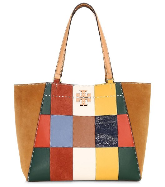 Tory Burch mcgraw patchwork leather tote in neutral