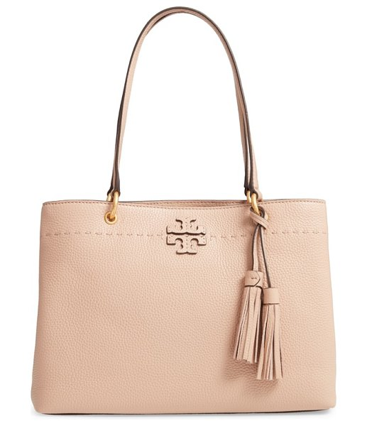 Tory Burch mcgraw triple compartment leather satchel in devon sand