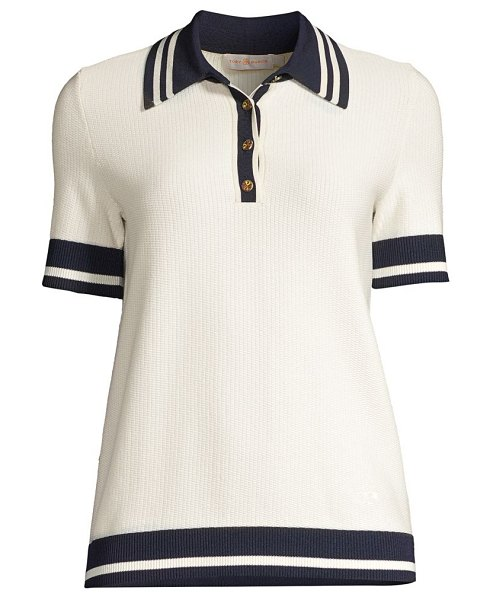 Tory Burch mesh polo t-shirt in new ivory