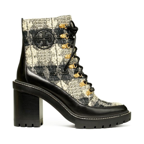 Tory Burch miller lug-sole bouclé hiking boots in black white