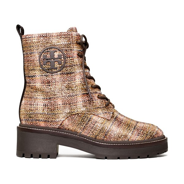 Tory Burch miller lug-sole tweed combat boots in rose gold