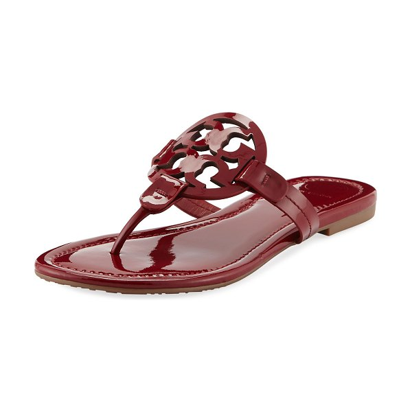 e62017febaa342 Tory Burch Miller Medallion Patent Leather Flat Thong Sandals ...