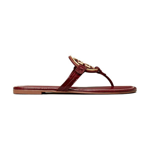Tory Burch miller metal leather thong sandals in roma red