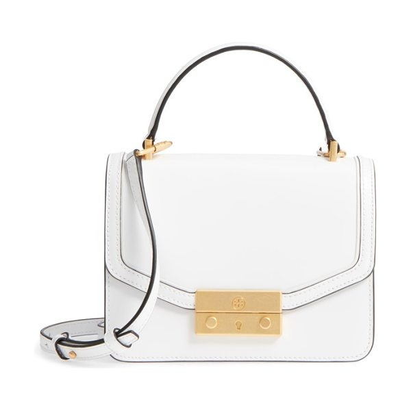 Tory Burch mini juliette leather top handle satchel in white - A top-handle satchel offers a chic throwback to vintage...