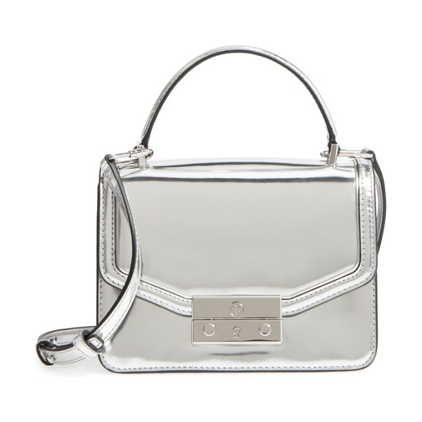 Tory Burch mini juliette metallic leather top handle satchel in silver - An effortlessly chic top-handle bag offers a charming...