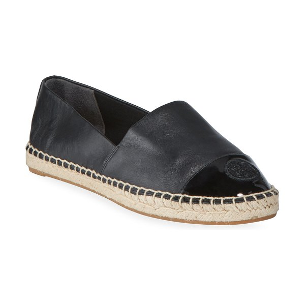Tory Burch Mixed Leather Flat Espadrilles in perfect black
