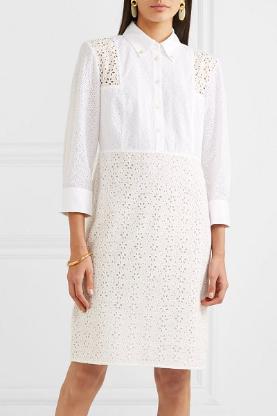 Tory Burch patchwork broderie anglaise cotton midi dress in ivory - Tory Burch's Spring '19 show was inspired by the way her...