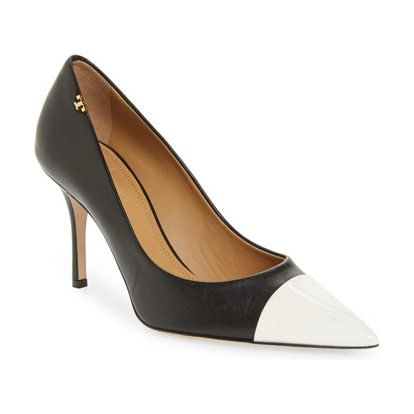 Tory Burch penelope cap toe pump in perfect black / perfect black