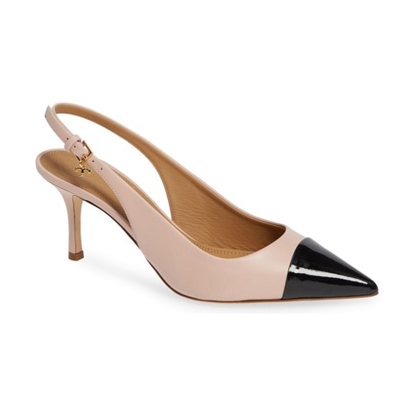 Tory Burch penelope cap toe slingback pump in sea shell pink/ perfect black - The refined look of two-tone spectator styling is...