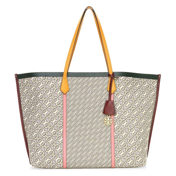 Tory Burch perry jacquard leather tote in neutral