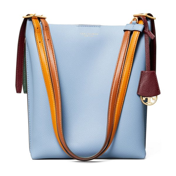 Tory Burch perry leather bucket bag in blue yonder