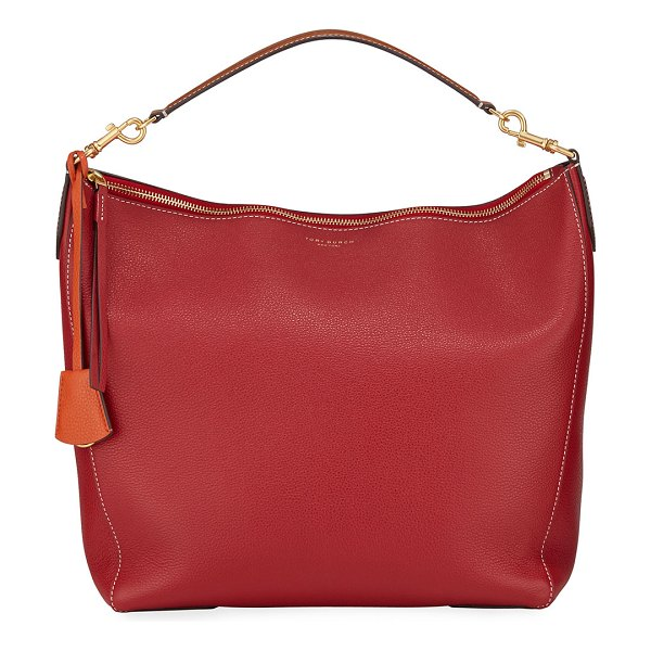 Tory Burch Perry Leather Hobo Bag in red