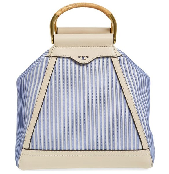 Tory Burch 'pieced half-moon' canvas & leather satchel in parchment stripe