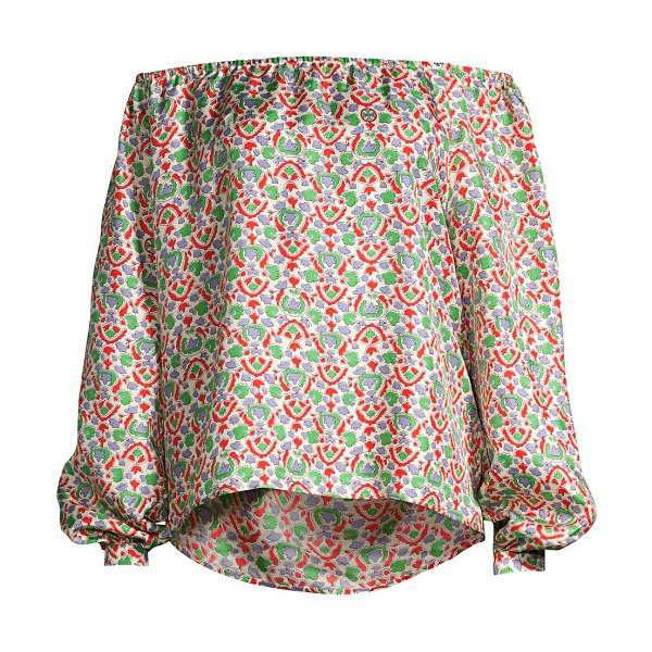 Tory Burch printed off the shoulder top in legacy paisley