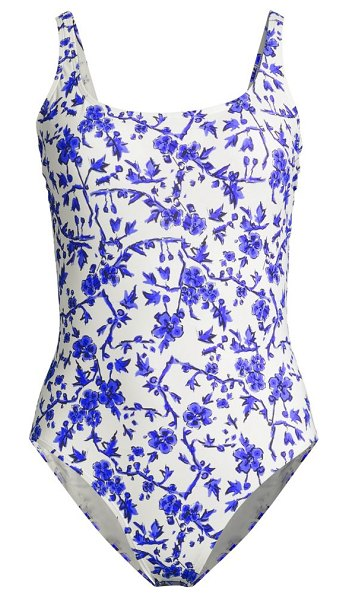 Tory Burch printed one-piece tank swimsuit in blue branc