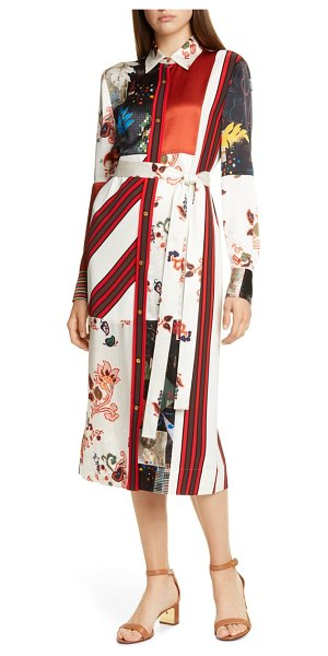 Tory Burch printed patchwork long sleeve silk blend shirtdress in mountain paisley