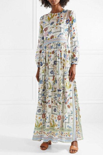 Tory Burch remi printed silk-georgette maxi dress in cream - Tory Burch's Fall '18 show took place at the base of the...
