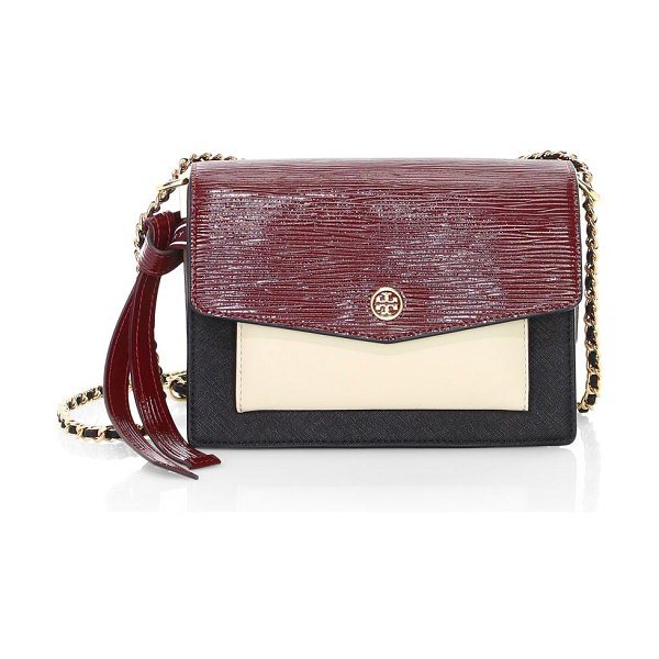 Tory Burch robinson colorblock leather shoulder bag in neutral