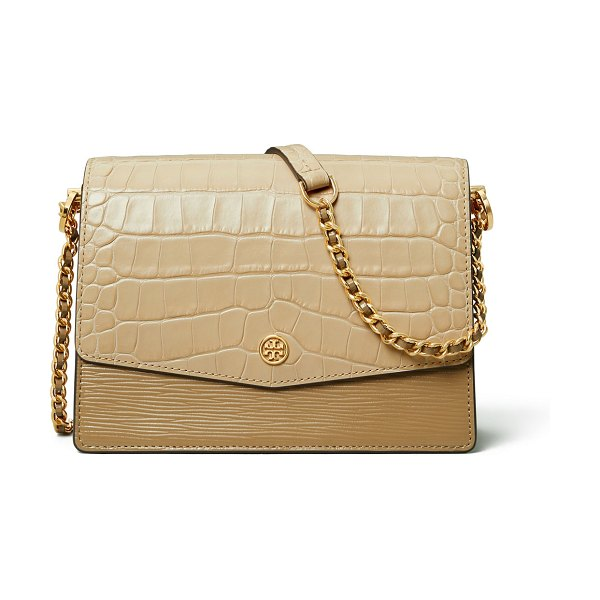 Tory Burch Robinson Embossed Colorblock Shoulder Bag in neutral pattern