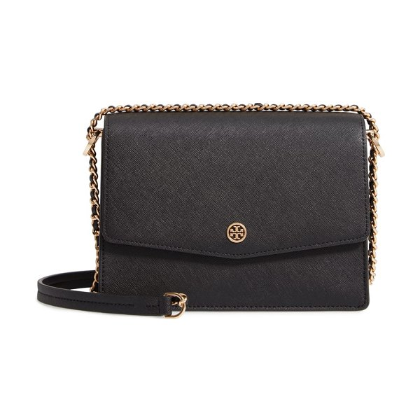 Tory Burch robinson leather convertible shoulder bag in black - Gleaming Tory Burch hardware adds a signature flourish...