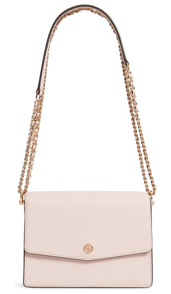 Tory Burch robinson leather convertible shoulder bag in shell pink