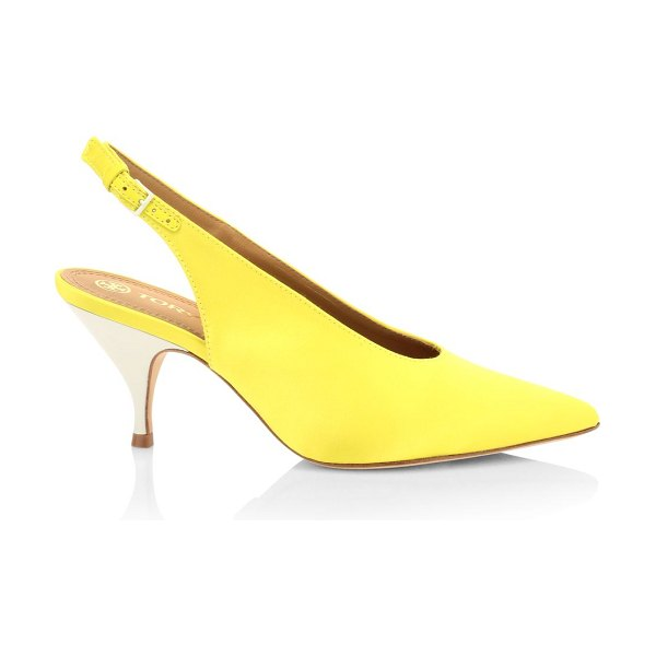 Tory Burch silk-blend slingback pumps in yellow