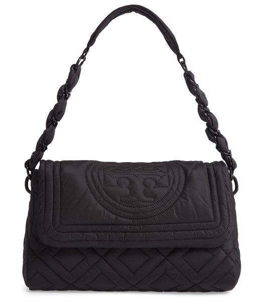 Tory Burch small fleming quilted nylon shoulder bag in black