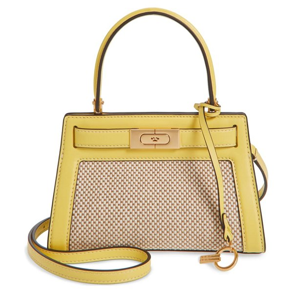 Tory Burch small lee radziwill canvas & leather bag in natural/ electric yellow
