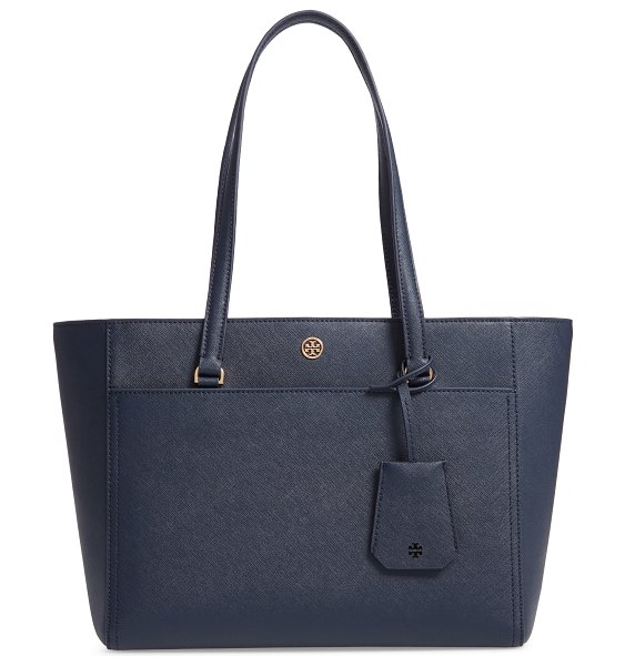 Tory Burch small robinson leather tote in royal navy - This over-the shoulder tote is made with a flared,...