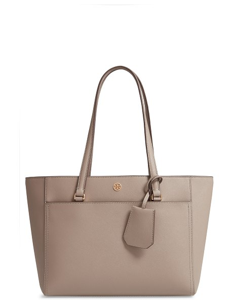 Tory Burch small robinson leather tote in gray heron - Named for Tory Burch's parents, Reva and Buddy Robinson,...