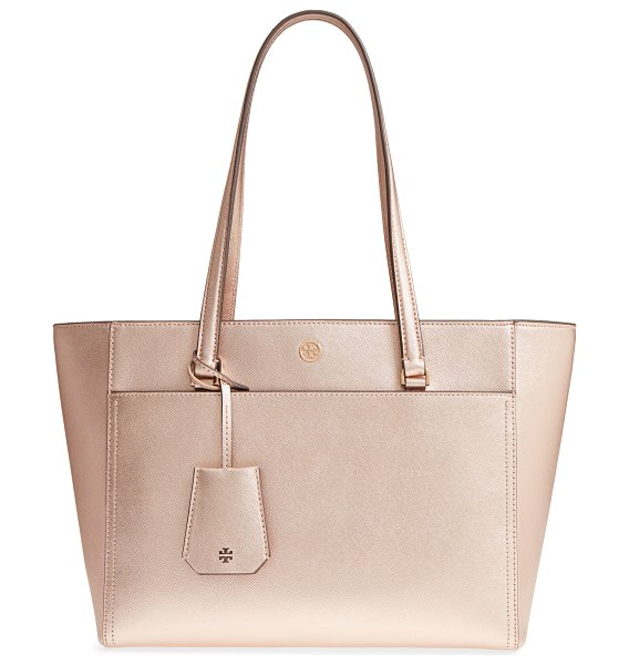 Tory Burch small robinson leather tote in pink - This over-the shoulder tote is made with a flared,...