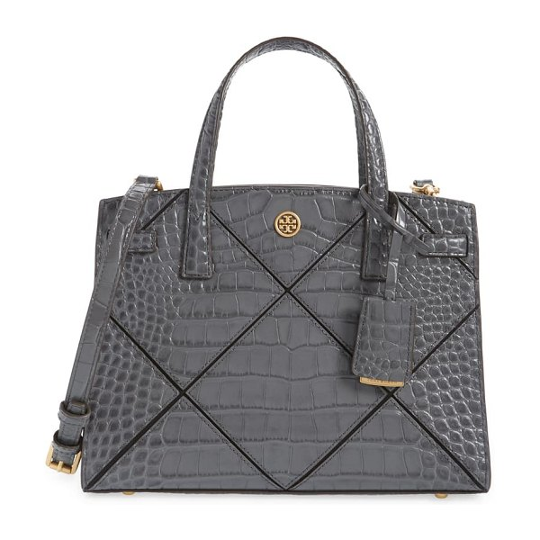 Tory Burch small walker croc embossed leather satchel in night