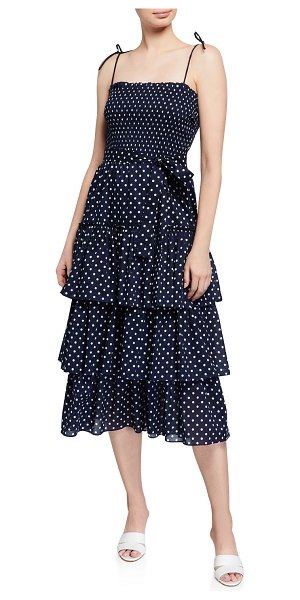 Tory Burch Smocked Polka Dot Tiered Midi Dress in classic dot