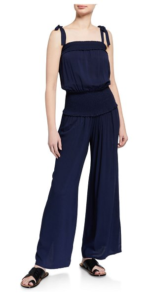 Tory Burch Smocked Shoulder-Tie Jumpsuit in tory navy