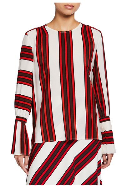 Tory Burch Striped Flare-Sleeve Silk Blouse in red