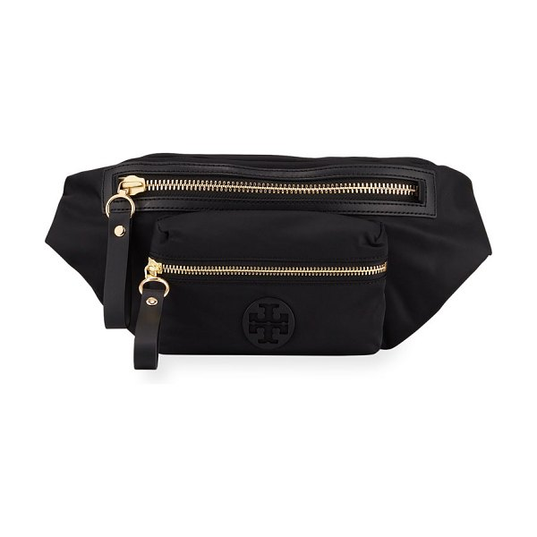 Tory Burch Tilda Nylon Zip-Top Belt Bag in black - Tory Burch nylon and faux-leather belt bag with golden...