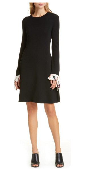 Tory Burch woven cuff long sleeve sweater dress in black / ivory mountain paisley