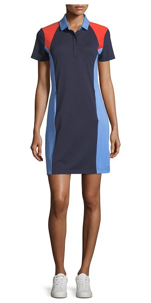 Tory Sport Colorblock Pique Polo Dress in navy - Tory Sport colorblock polo dress in soft, lightweight,...
