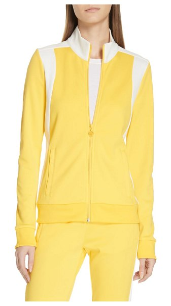 Tory Sport colorblock track jacket in sundance - Bold color blocking adds a pop of panache to a soft knit...